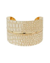 Mikey | Natural Snake Look Curved Cuff | Lyst