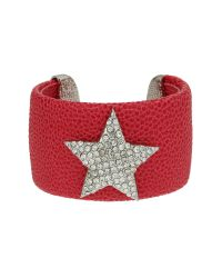 Mikey | Red Star On Leather Cuff | Lyst