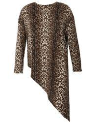 Izabel London | Multicolor Leopard Print Asymmetric Knit Top | Lyst