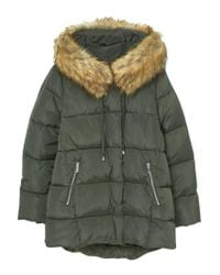 Mango - Green Collar Quilted Coat - Lyst