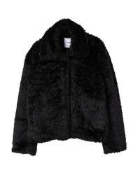 Mango - Black Lapels Faux Fur Coat - Lyst