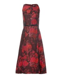 Tahari - Red Fit And Flare Floral Dress - Lyst