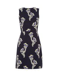 Warehouse - Blue Iris Jacquard Dress - Lyst