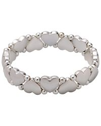 Pilgrim - Metallic Silver-plated Hearts And Pearls Bracelet - Lyst