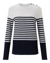 Jigsaw | Blue Block Stripe Breton Jumper | Lyst