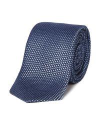 HUGO - Blue Geo Print Textured Silk Tie for Men - Lyst