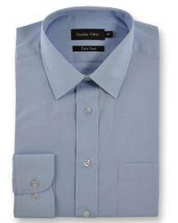 Double Two | Blue King Size Classic Plain Long-sleeve Shirt for Men | Lyst