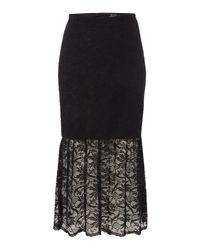 Bardot - Black Lace Bodycon Peplum Skirt - Lyst
