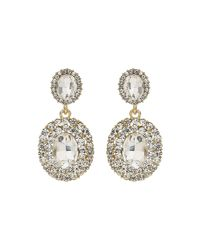 Mikey | Metallic Oval Crystal Studded Edge Drop Earring | Lyst