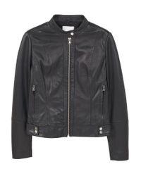 Mango   Black Leather Bomber Jacket   Lyst