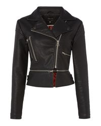 Label Lab - Black Zip Detailed Biker Jacket - Lyst