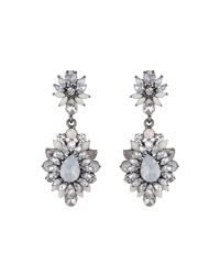Mikey - White Drop Flower Crystal Earring - Lyst