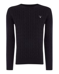 GANT | Black Crew Neck Cable Knit Jumper for Men | Lyst