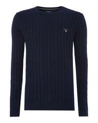GANT | Blue Crew Neck Cable Knit Jumper for Men | Lyst