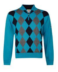 Cutter & Buck | Gray Zip Neck Argyle Lined Sweater for Men | Lyst