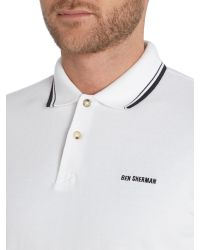 Ben Sherman - White Block Font Pique Polo Shirt for Men - Lyst