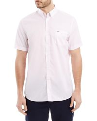 Lacoste - Pink Short Sleeved Check Shirt for Men - Lyst