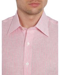 Chester Barrie - Pink Stripe Tailored Long Sleeve Classic Collar Shirt for Men - Lyst