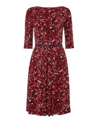 Max Mara | Red Ghiotto Jersey Print Belted Dress | Lyst