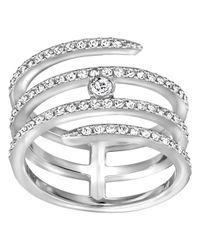 Swarovski | Metallic Silver-tone Crystal Swan Logo Ring | Lyst