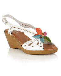 Lotus | White Trevi Wedge Sandals | Lyst