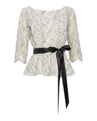 Eliza J | Gray 3/4 Sleeve Lace Top With Tie Belt | Lyst