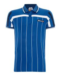 Ellesse | Blue Regular Fit Vertical Stripe Logo Polo Shirt for Men | Lyst