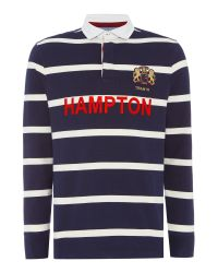 Howick | Blue Hampton Stripe Long Sleeve Rugby Shirt for Men | Lyst
