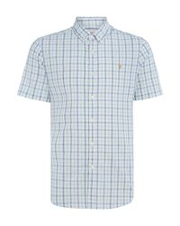 Farah   Blue Cosford Regular Fit Gingham Short Sleeve Shirt for Men   Lyst