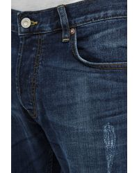 French Connection - Blue Ikal Stretch Destroyed And Repair Jeans for Men - Lyst