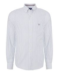 GANT - White Pinstripe Oxford Long Sleeve Shirt for Men - Lyst