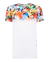 Hype | White All Over Floral Fade Print Crew Neck T Shirt for Men | Lyst