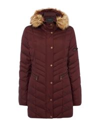 Andrew Marc | Red Padded Coat With Faux Fur Hood | Lyst