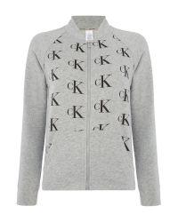 Calvin Klein | Gray All Over Logo Lounge Bomber Top | Lyst