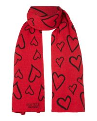 Boutique Moschino   Red Long Heart Wool Scarf   Lyst