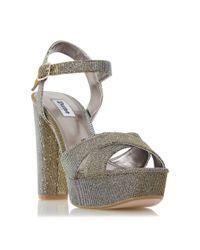 Dune | Metallic Mahikie Diamante Strap High Heel Sandals | Lyst