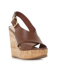 Dune Black | Brown Karta Cross Strap Wedge Sandals | Lyst