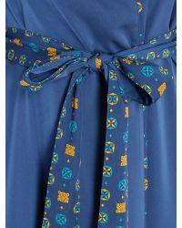 Biba - Blue Tile Print Lined Satin Robe - Lyst
