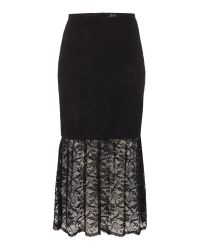 Bardot | Black Lace Bodycon Peplum Skirt | Lyst