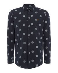 Farah | Blue Millfield Slim Fit Spot Print Shirt for Men | Lyst