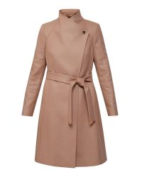 Ted Baker | Natural Aurore Long Wrap Coat | Lyst