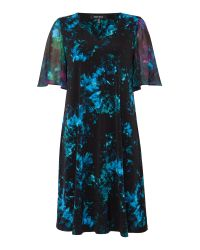 Ellen Tracy   Blue Flutter Sleeve Printed Shift Dress   Lyst