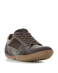 Dune | Brown Titan Mixed Leather Lace Up Trainers for Men | Lyst