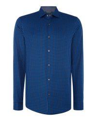 Michael Kors   Blue Slim Fit Gingham Checked Long-sleeve Shirt for Men   Lyst