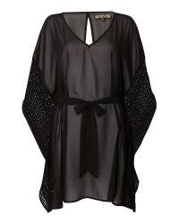 Biba   Black Crochet Trim Cover Up   Lyst