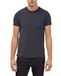French Connection - Blue Dunite Dot Chest Pocket T-shirt for Men - Lyst