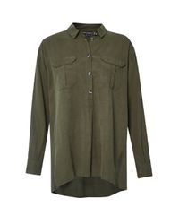 French Connection   Green Trooper Tencel Pull Over Shirt   Lyst