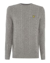 Lyle & Scott | Gray Lambswool Cable Knit Crew Neck Jumper for Men | Lyst