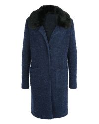 Basler | Blue Wool Coat With Faux Fur Collar | Lyst