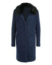 Basler | Blue Faux Fur Collar Boucle Coat | Lyst